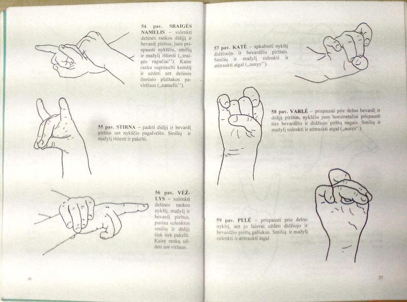 """Gražinos Musteikienės knygos """"Žaidimai rankų pirštams mankštinti"""" (Lucilijus, 2001) atvartas"""