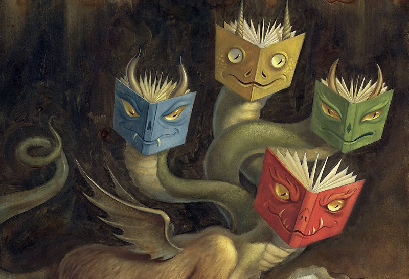 "Chris Buzelli. ""Book Monster"", iliustracijos straipsniui ""Taming the Wild Text"" fragmentas"